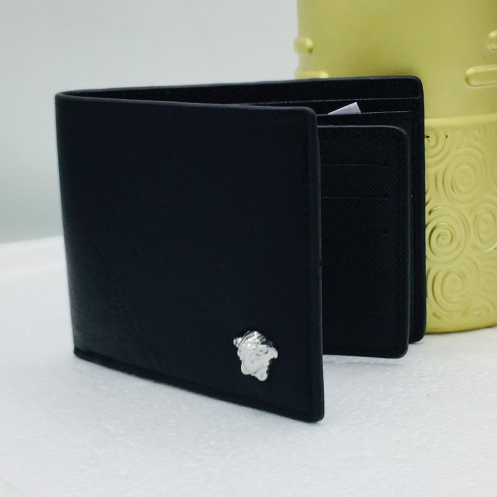Classy Men's Transverse PU Leather Wallet  Money Clip Credit Card Holder  Black