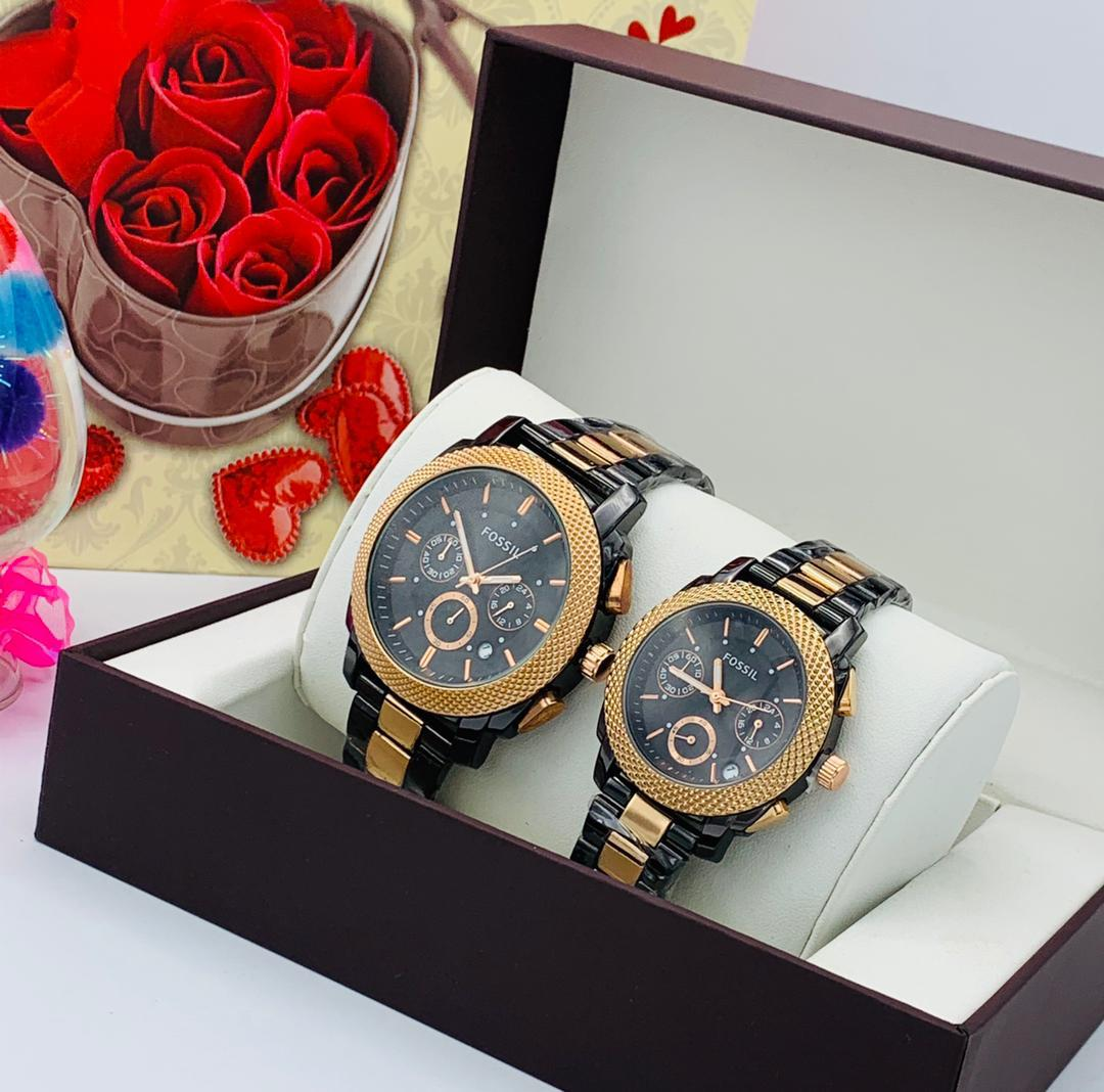 LUXURY FOSSIL TWIN SET WRISTWATCH