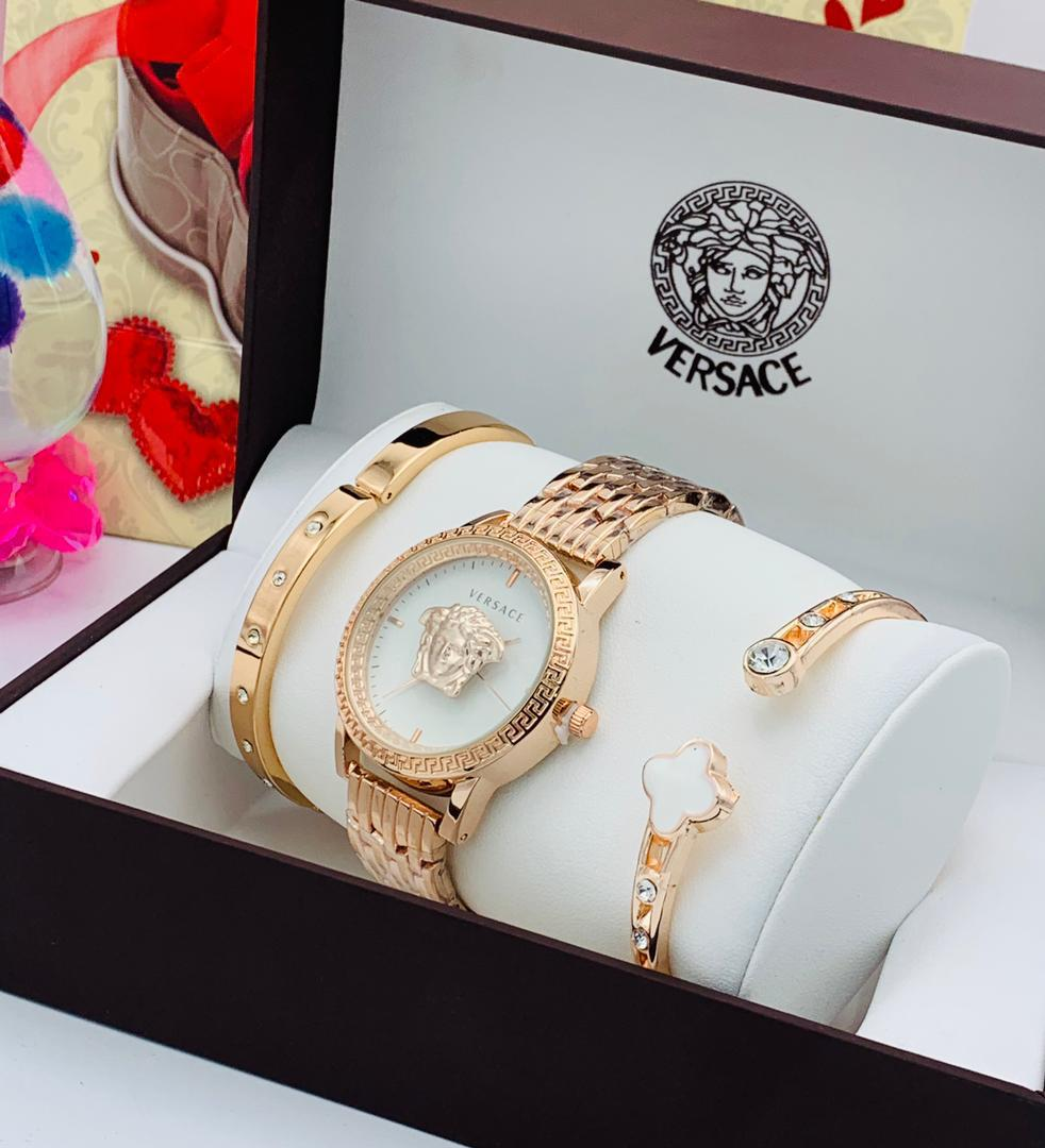 Women's VERSACE Accented Rose Gold Bangle Watch And Bracelet